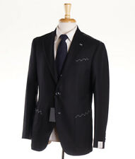 NWT $3800 LUIGI BORRELLI NAPOLI Black Check Flannel Wool Suit Slim 40 R (Eu 50)
