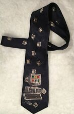 Men's 100% Silk Tie Vintage Computer Albert Perricci USA Imported Italian Silk