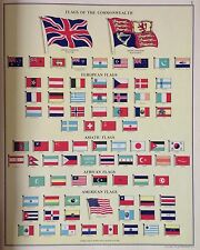 Flags Of The World c1960, Original Vintage Print, Commonwealth European American