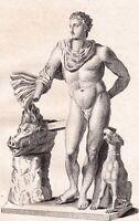 Gravure XVIIIe Méléagre Meleagros Mythologie Grecque Sanglier Calydon Μελέαγρος