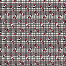 Fabric Mickey & Minnie Disney on Grey Plaid Cotton by the 1/4 yard