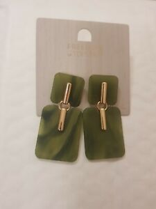 Freedom At Topshop Green Marble Gold Earrings