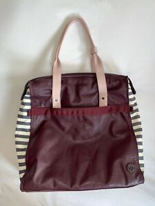 $128 LULULEMON Follow Your Bliss Bag Burgundy Gray Stripe Tote Yoga Mat Straps