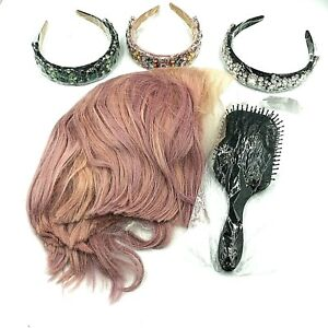 """Dolce Rosa Wig 10"""" BOB Luxe Soft Mauve Pink Hair with Brush and Headbands NEW"""