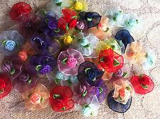 50 pcs colorful color flower organza ribbon.