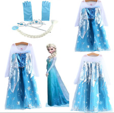girls Princess Queen Elsa Cosplay Costume Party Fancy Dress Outfit Clothes 3-9Y