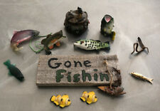 Lot of 10 Fishing Themed Decorations~Ornaments~Fis hing Decor~ Sign