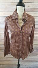 Shirts by Cino women's small button up brown sacred geometry pattern shirt.