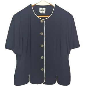 Vintage Leslie Fay Women 16 Dress Blouse Navy Scalloped Metal Buttons Business