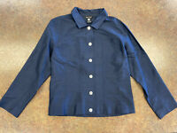 Multiples Womens Blue Lightweight Long Sleeve Button Up Jacket Size Small