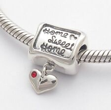 HOME SWEET HOME CHARM CHARM Bead Sterling Silver.925 For European Bracelets 519