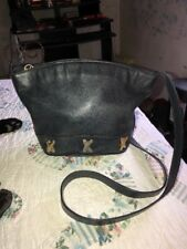 BY PALOMA PICASSO Black Leather Handbag Shoulder Bucket Purse Made In Italy