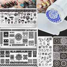 7Pcs/Set Nail Art Stamping Plates Tribal Lace Stamp Template W/Stamper Scraper