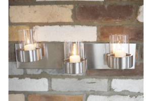 Brushed Steel Candle Holder   3 x Wall Mounted Tealight Votive Jars