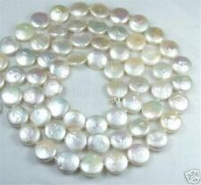 "New 12MM White Coin Real Natural Pearl Jewelry Gorgeous Necklace 30"" AA"