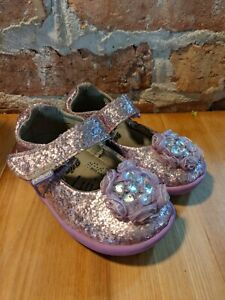 Pediped Grip 'n' Go Delaney Pink (Lavender) Sparkly Mary Janes - Size 22 / 6-6.5
