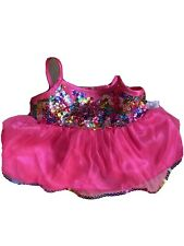 BUILD A BEAR BAB OUTFIT CLOTHES DRESS Hot PINK FUCHSIA SATIN FANCY Sequence