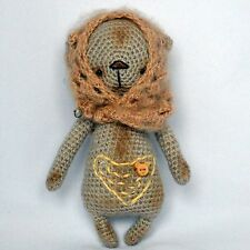 Crochet beige artist teddy bear in a shawl, 7 ¼in.
