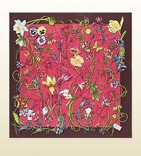 New Gucci Large Brown Pink Flora Infinity Print Silk Foulard Scarf 295212 5570