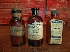 3 Antique AMBER Glass Medicine Apothecary bottles Jars 2 W/Contents Paper Labels