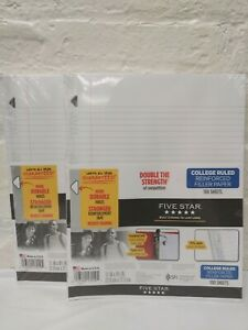2 Packs ~ Five Star Reinforced Filler Paper College Ruled 11x8.5 100 Sheets Each