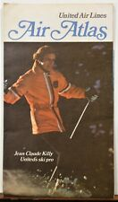 1971 United Airlines route map Jean-Claude Killy ski area info travel brochure b