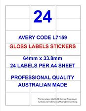 AVERY CODE L7159 GLOSS LABEL STICKERS 24 PER SHEET X 100 SHEETS SHIPPING POST