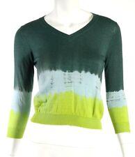 PRADA Green & Light Blue Tie Dye Cashmere Knit V-Neck Cropped Sweater 42