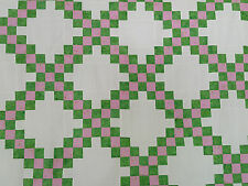 Unfinished Quilt Top- Double Irish Chain, Green and Pink  approx 60.5x 60.5