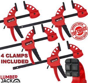 Lumberjack Bar Clamps Heavy Duty One Handed Quick Grip Mini Fast Clamp Set of 4