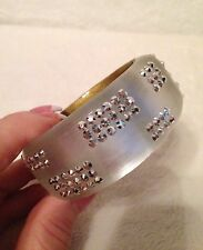 ALEXIS BITTAR White Silver MEDIUM Geometric Crystal Pattern Lucite BRACELET