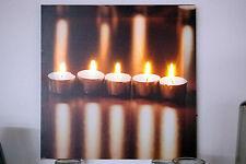 LED Bild mit Beleuchtung auf Leinwand, Leuchtbild 5 Teelichte, 5 LED, 30x30cm