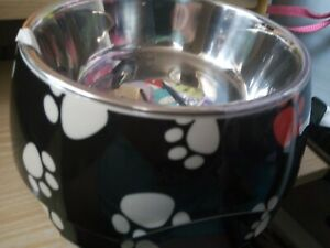 NEW 2 IN ONE BOWL FOR LARGE DOG, PAW PRINT DESIGN, FROM PETS AT HOME.