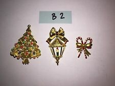 Lot of Vintage Brooches Pins Gems Tons Listed Variety Holiday Candycane Light B2