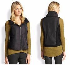 NWT Eileen Fisher SZ P L Stand Collar Boiled Wool Vest Parka Nylon Trim $338