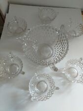 American Fostoria cube glass Punch/ Salad Bowl With 6 Small serving bowls..