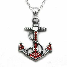 Anchor Necklace with Red Cubic Zirconia Pendant Stainless Steel Jewelry Controse