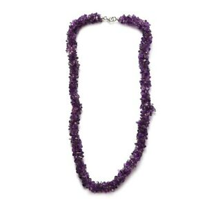 301.40 ctw Amethyst Chips Necklace 20 Inches in Platinum Over Sterling Silver