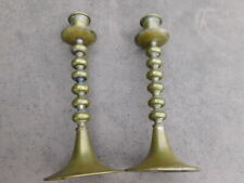 RARE PAIR 17th Century Antique Brass Bronze Round Candlesticks Candle Holder