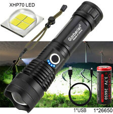900000LM Zoomable XHP70 5Modes LED USB Rechargeable 26650 18650 Flashlight Torch