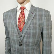 Cavani Mens Suit Slim Fit Grey Prince Of Wales Check Houndstooth 42R W36 L33 New