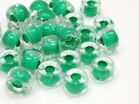 30 Tschechische Glasperlen 9x5,4mm Walzen Crystal Grüneinzug Perlen Y214