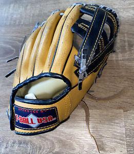 "Official Retro USA T Ball Model T100 Leather Baseball Glove LEFT HAND 9.5"" Tan"