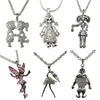 Kissing Cousins Fairy Doll Joker Dancing Girl Silver Diamante Necklace Pendant