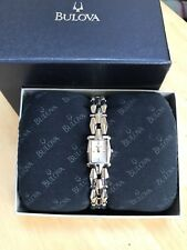 BULOVA LADIES DRESS WATCH STAINLESS STEEL BRACELET POLISHED RECTANGLE DIAL WOW!!