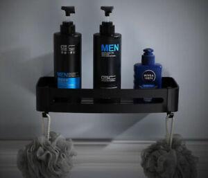 Black Aluminium Hanging Holder Bath Shower Corner Storage Shelf Rack Basket