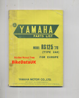 Yamaha RS125 (1978 >) Factory Parts List Catalog Book Manual RS 125 DX 2A0 BK56