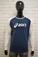 Maglia ASICS Uomo Taglia Size M Maglioen Sweater Shirt Man Cotone Bianco Blu