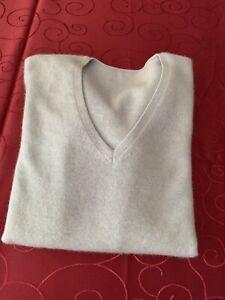 Hell blauer 100% Kashmir/Cashmere Pullover mit V-Neck Gr. S/M - Maße beachten