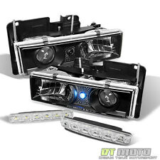 Black Fits 1988-1998 Chevy/Gmc C/K Truck Led Projector Headlights+Smd Bumper Fog